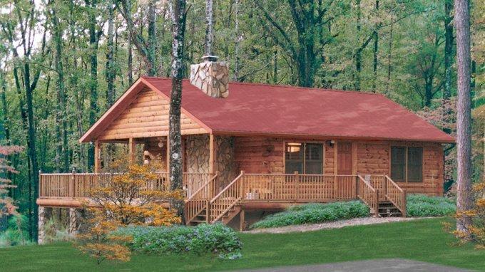 Lakehouse log cabin